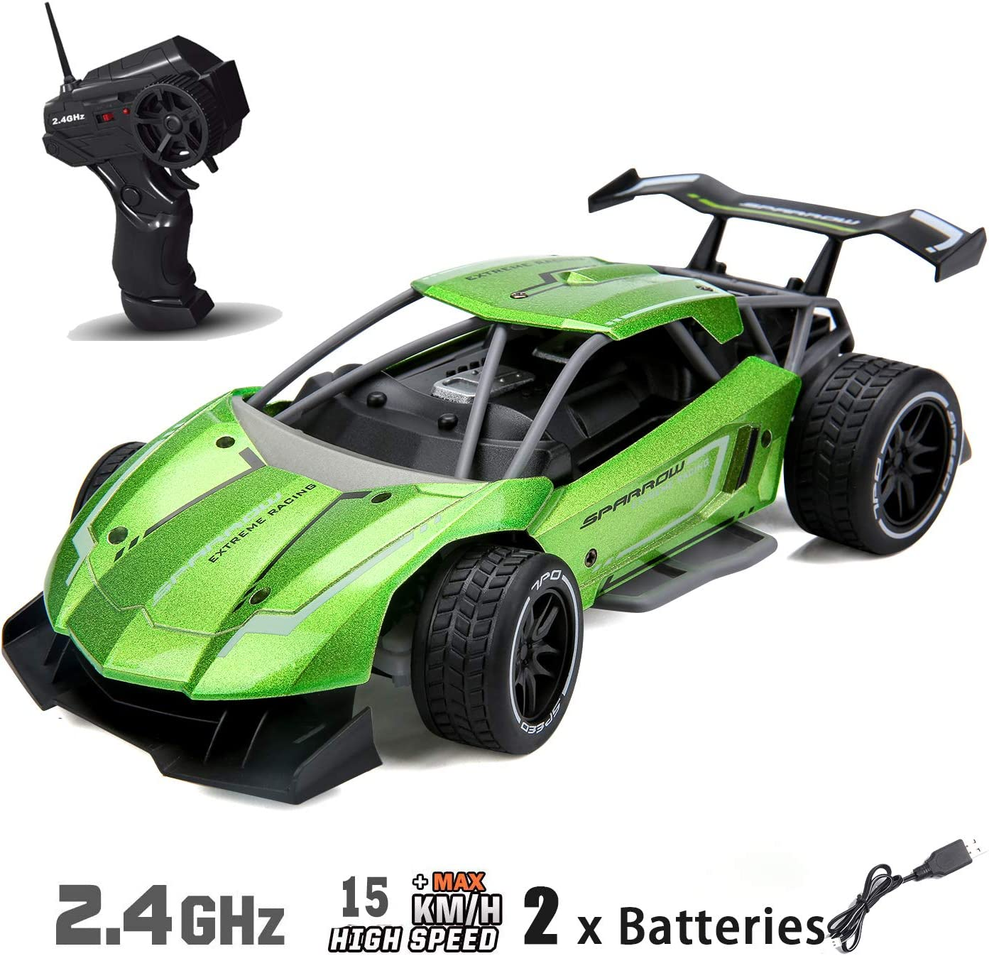 Amazon Com Remote Control Car For Boys Fast Speed Rc Racing Car Alloy Rechargeable Toy Cars 1 16 Scale 2 4ghz Toys Games