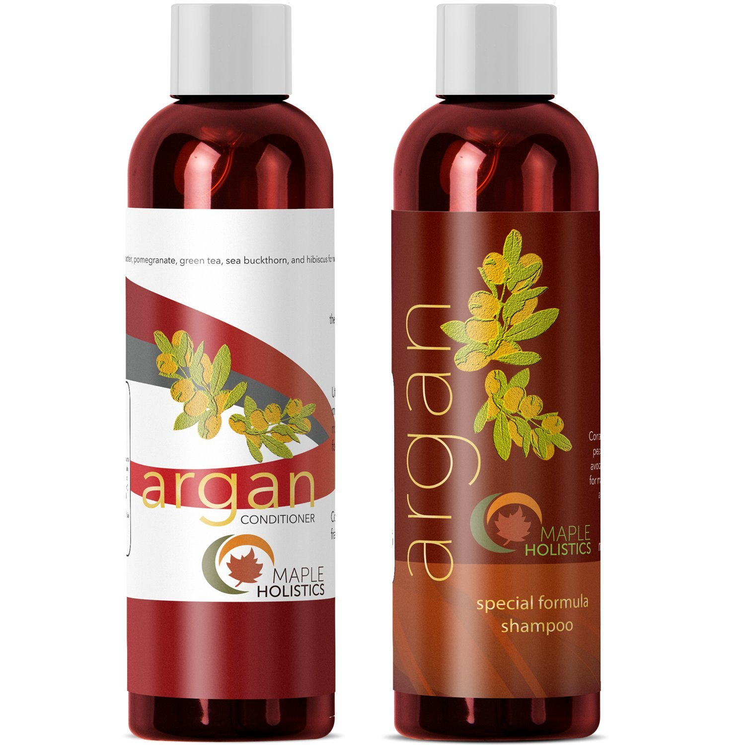 Argan Oil Shampoo and Hair Conditioner Set - Argan Jojoba Almond Oil Peach Kernel Keratin - Sulfate Free - Safe for Color Treated Damaged and Dry Hair - For Women Men Teens and All Hair Types by Maple Holistics