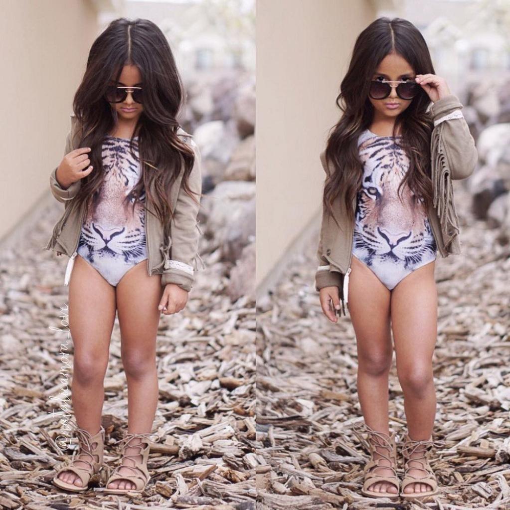 HUHU833 Girl Bikini Kids Baby Girl Tiger Pattern One Piece Swimsuit Swimwear Bathing Suit Clothes