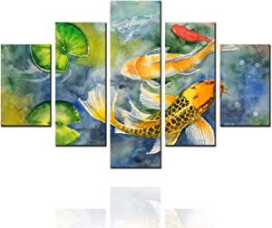Large Wall Art for Living Room Three Carp Fish and Duckweed Pictures Chinese Style Paintings 5 Pcs/Multi Panel Canvas Modern Artwork Home Decor Giclee Framed Gallery-wrapped Ready to Hang(60''Wx40''H)