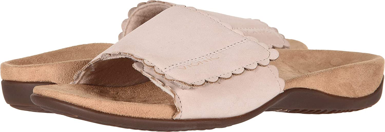 Vionic Women's Rest Florence Slide Sandal - Ladies Adjustable Sandals with Concealed Orthotic Arch Support