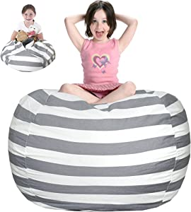 JS HOME Extra Large Bean Bag Chair Cover, Ultra Soft Cute 38'' Bean Bag Chair Cover for Kid and Adults, Canva Storage Bean Bag for Organizing Children Plush Toys (No Filler), Grey