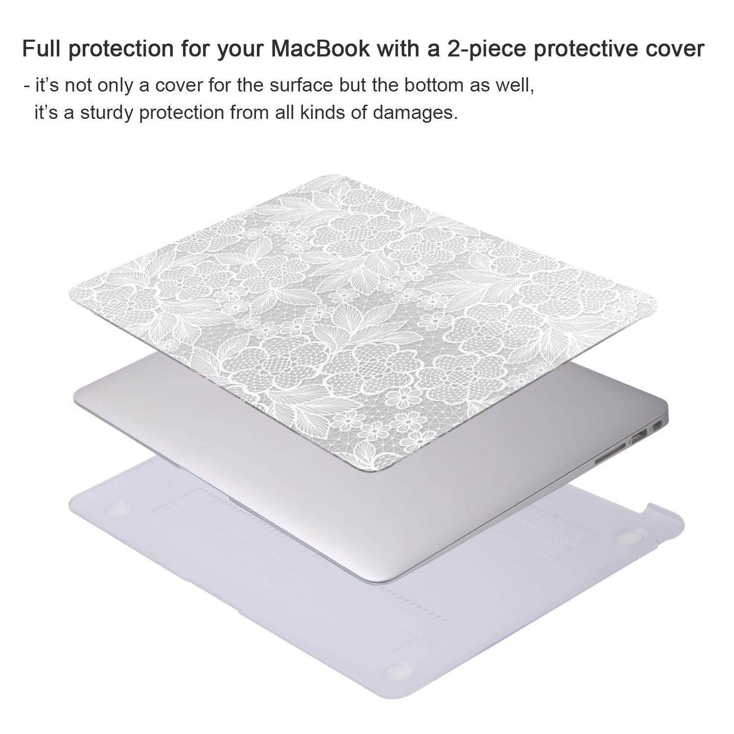 Face Hard Cover Shell with Keyboard Cover Compatible Newest MacBook Pro 13 with//Without Touch Bar and Touch ID iCasso MacBook Pro 13 inch Case 2019 2018 2017 2016 Release A2159//A1989//A1706//A1708