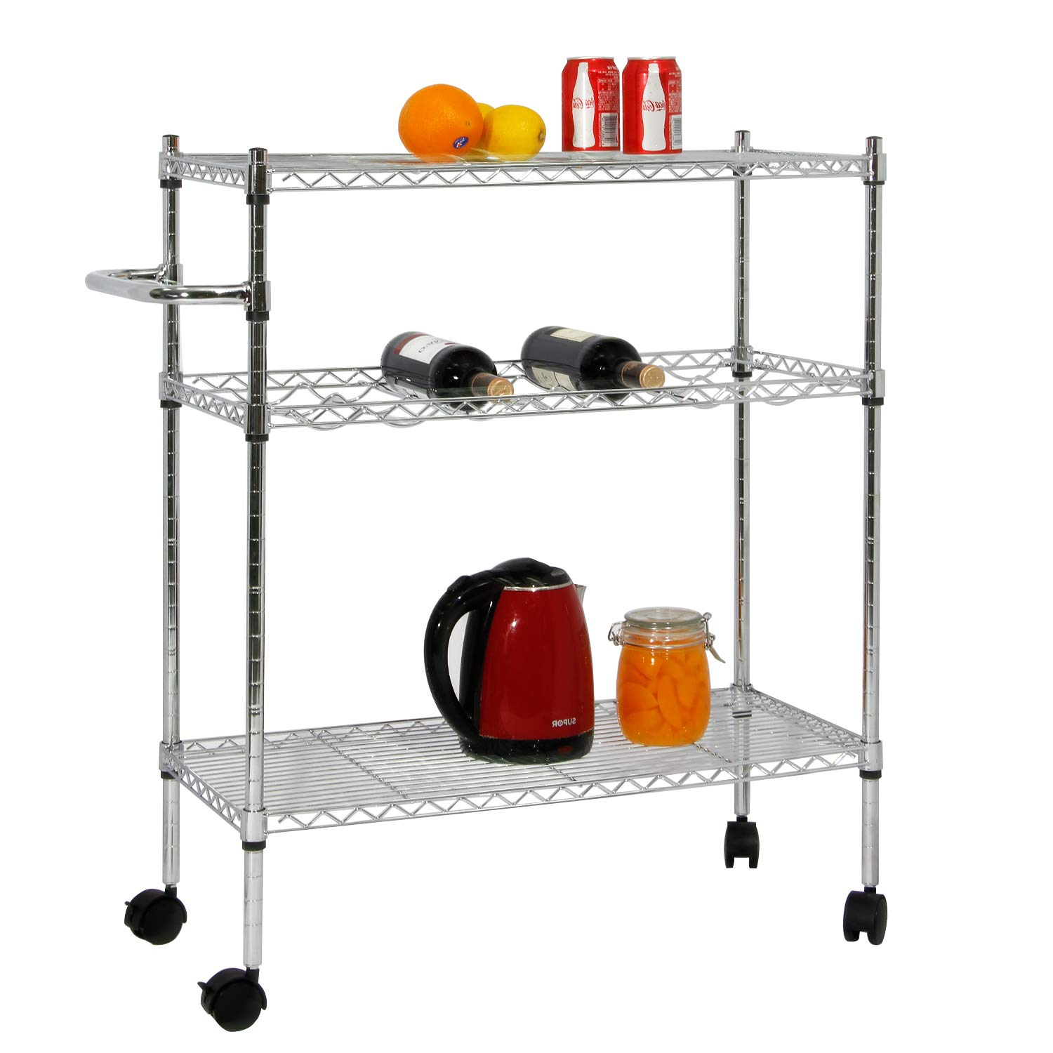 soges Storage Shelf with Wheels, Rolling Cart, Storage Shelf Trolley,Units for Home, Kitchen, Bathroom, Stainless Steel KS-ZSCS-05