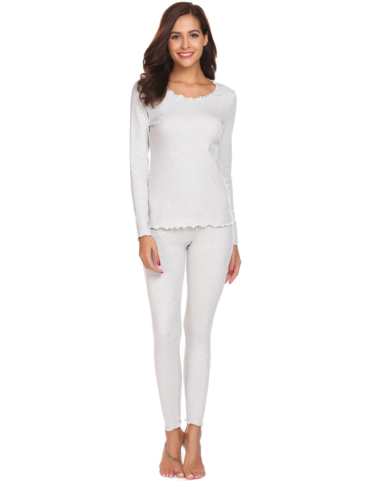 Ekouaer Thermal Sets Womens 2 Pcs Underwear Slimming Top & Bottom Pajama Ruffle Collar Grey X-Large