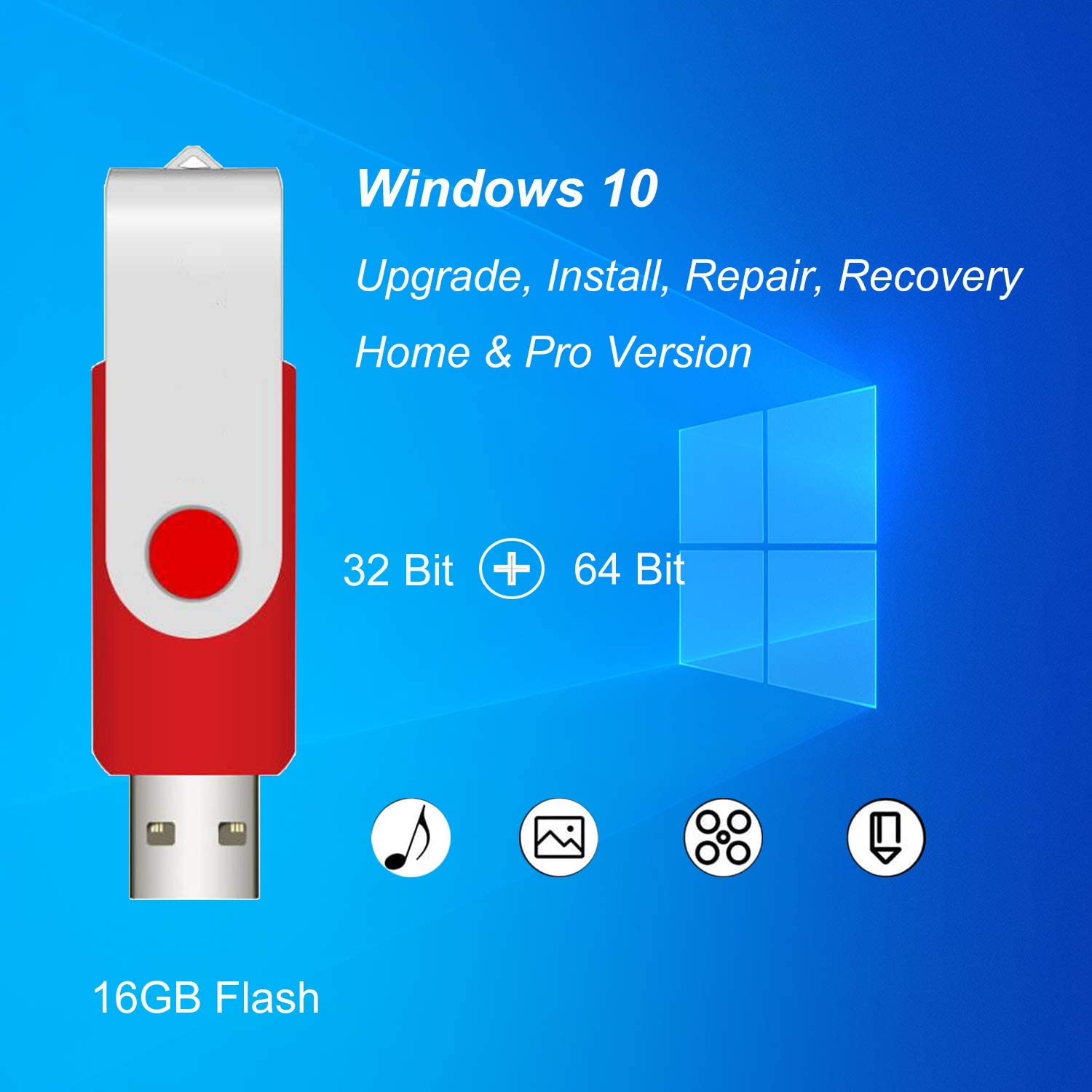 ILamourCar USB Compatible with Windows 10 Home&Professional 32&64 Bit&Antivirus Recovery Repair Reinstall Clean Reboot Restore Fix Update Bootable 16GB Flash Drive for Desktop&Laptop -Red