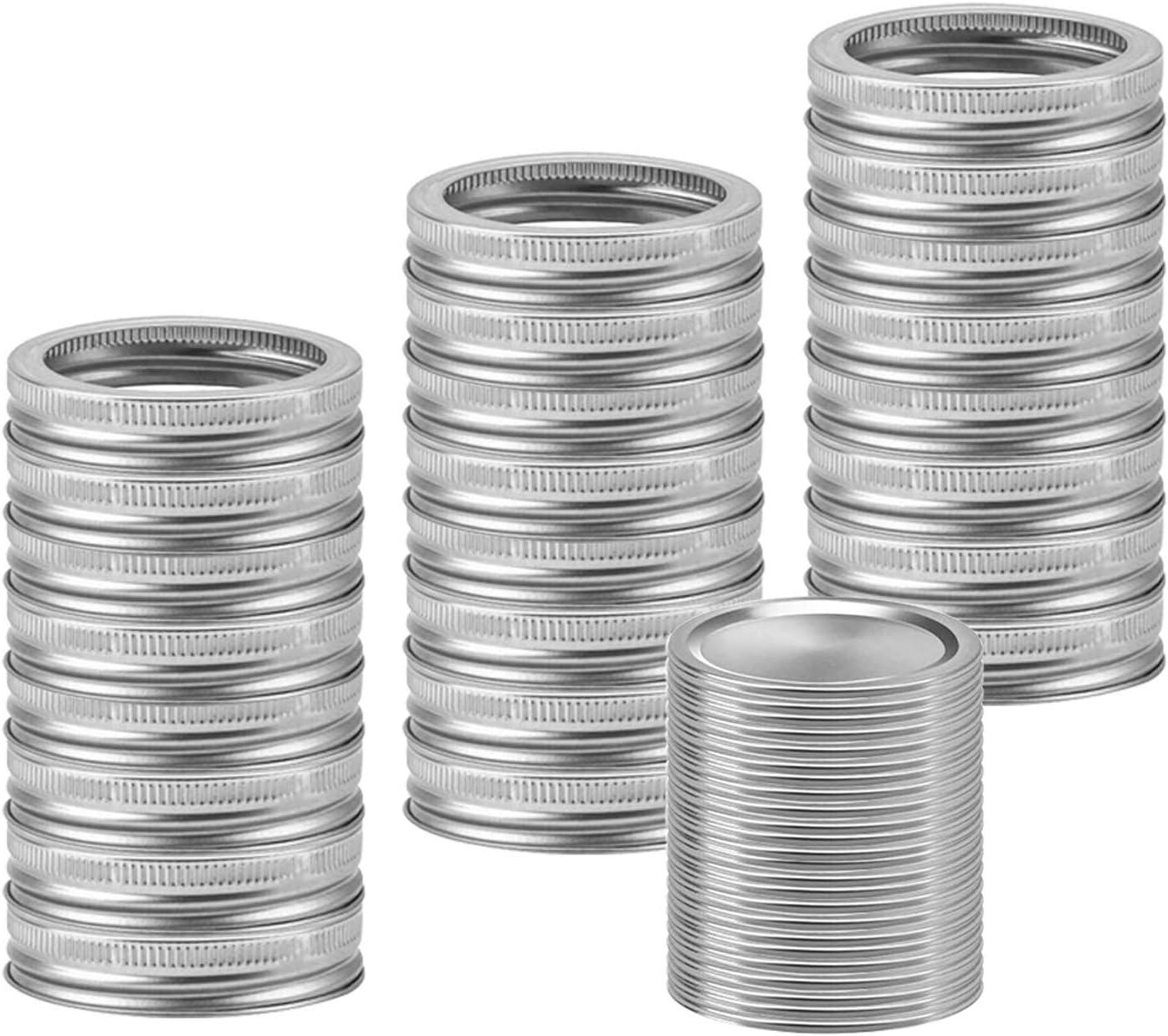 trohe Mason Jar Canning Lids Regular Mouth Lids Split-Type Reusable Lids Leak Proof Secure Mason Storage Caps, 24 Sets per Box (70mm,Silver)
