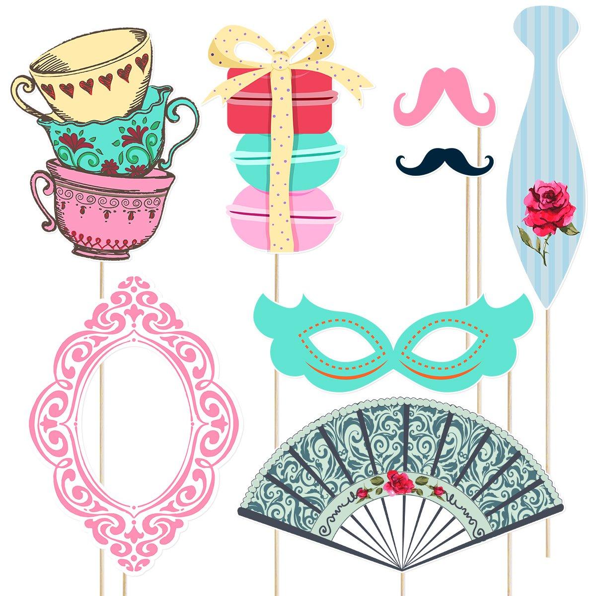 Accesorios divertidos para fiestas de fototerapia Accesorios para fiestas de t/é LUOEM Tea Party Kits de apoyos para fotomat/ón 30 Pack