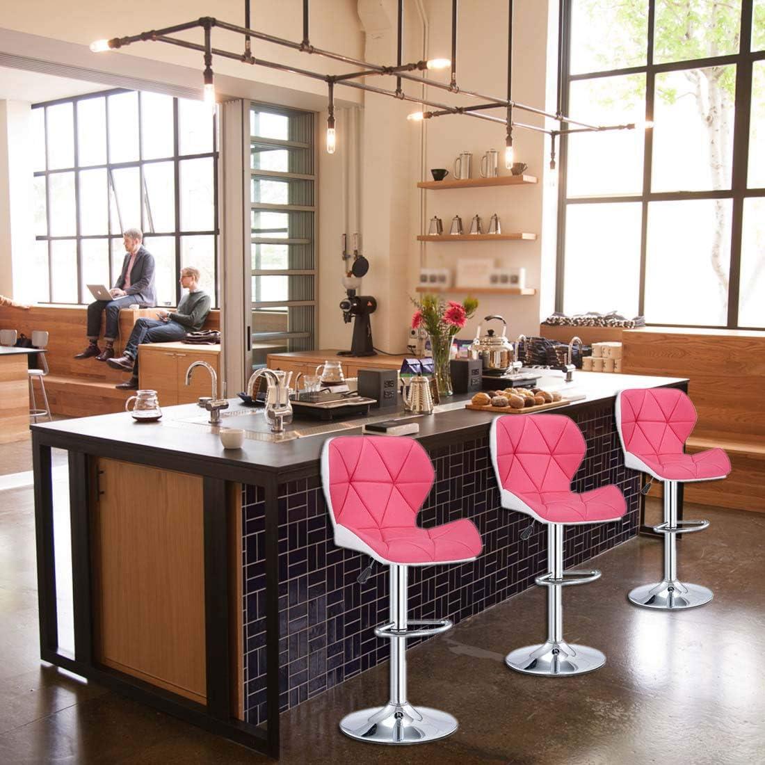 Rosa Taburete Redondo Bar con Respaldo XIGG Taburetes de Bar para Bar Cocina Restaurante Cuero Regulable en Altura y Giratorio