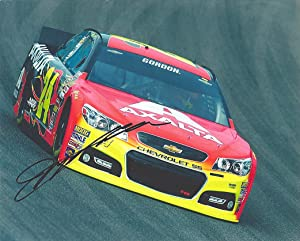 AUTOGRAPHED 2014 Jeff Gordon #24 Axalta Flames Racing Team (Hendrick Motorsports) On-Track Car Signed Picture 8X10 NASCAR Glossy Photo with COA