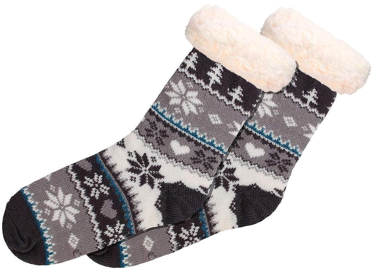 Alsino Hüttensocken Norweger Weihnachtssocken Größe 37-42 mit ABS Sohle für Damen und Herren