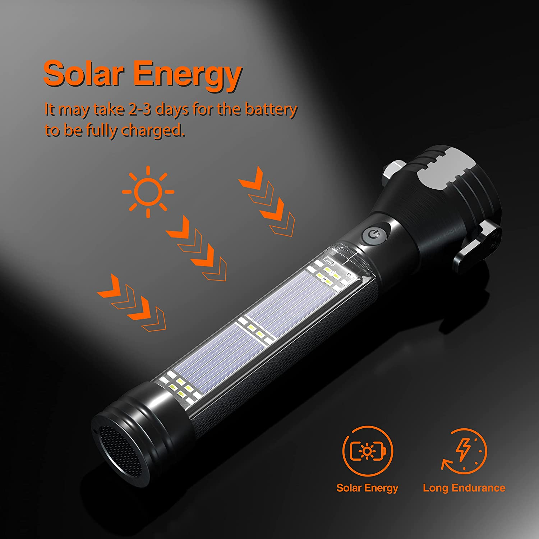 Otdair LED Flashlight Solar Power Flashlight