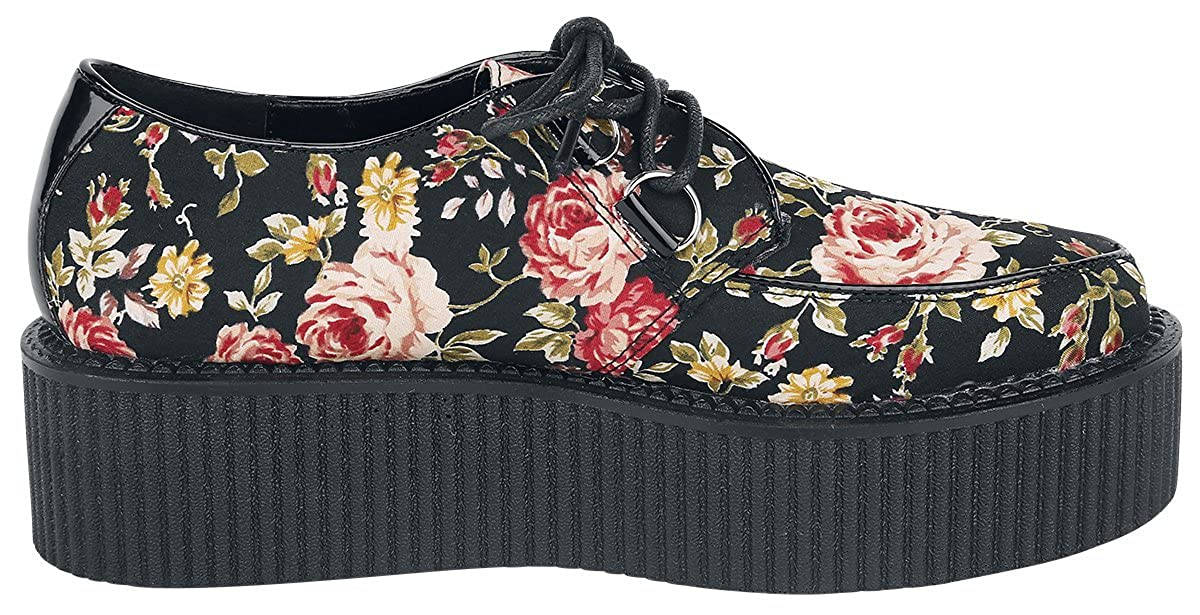 Industrial Punk Creepers Flowers Chaussures noir//rouge
