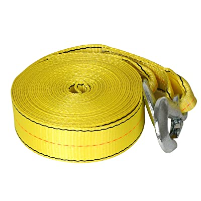 Weize 30 FT x 2 in Tow Strap Rope with 2 Forging Hooks 10,000lb Towing Recovery: Home Improvement