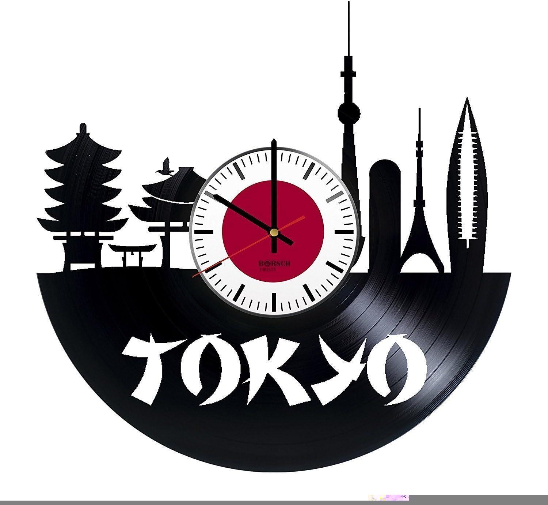 Tokyo Decor Vinyl Wall Clock Japan Unique Gifts Living Room Home Decor