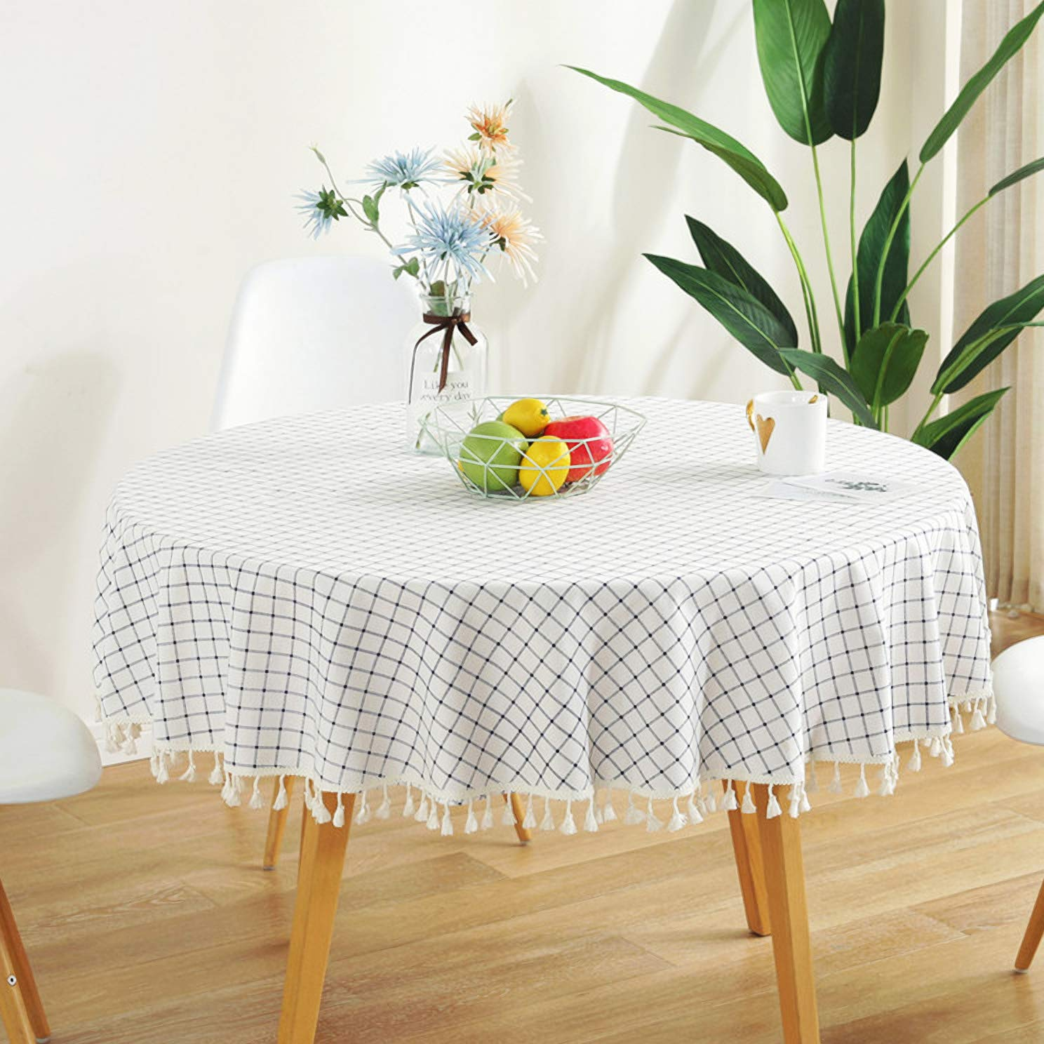 Lulutus Checkered Tassel Tablecloth Round Dust-Proof Cotton Linen Fabric Table 60 Inch Indoor Outdoor Camping Picnic Circle Table Cover Kitchen Dining Living Room Restaurant Party Decoration
