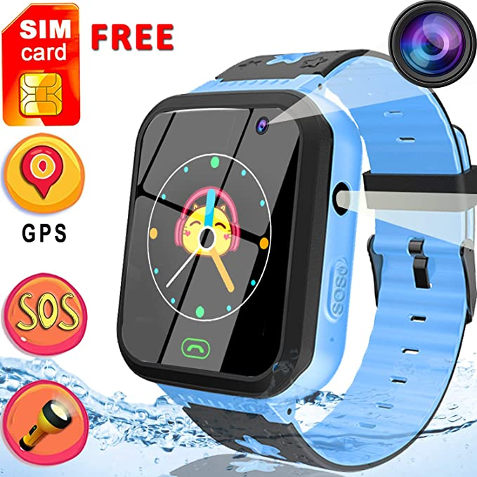 [Free SIM Card]Upgrade Kids Smart Watch Phone, GPS Tracker Watch SOS Voice Chat for 4-12 Years Old Boys Girls Waterproof Smartwatch Anti-Lost ...