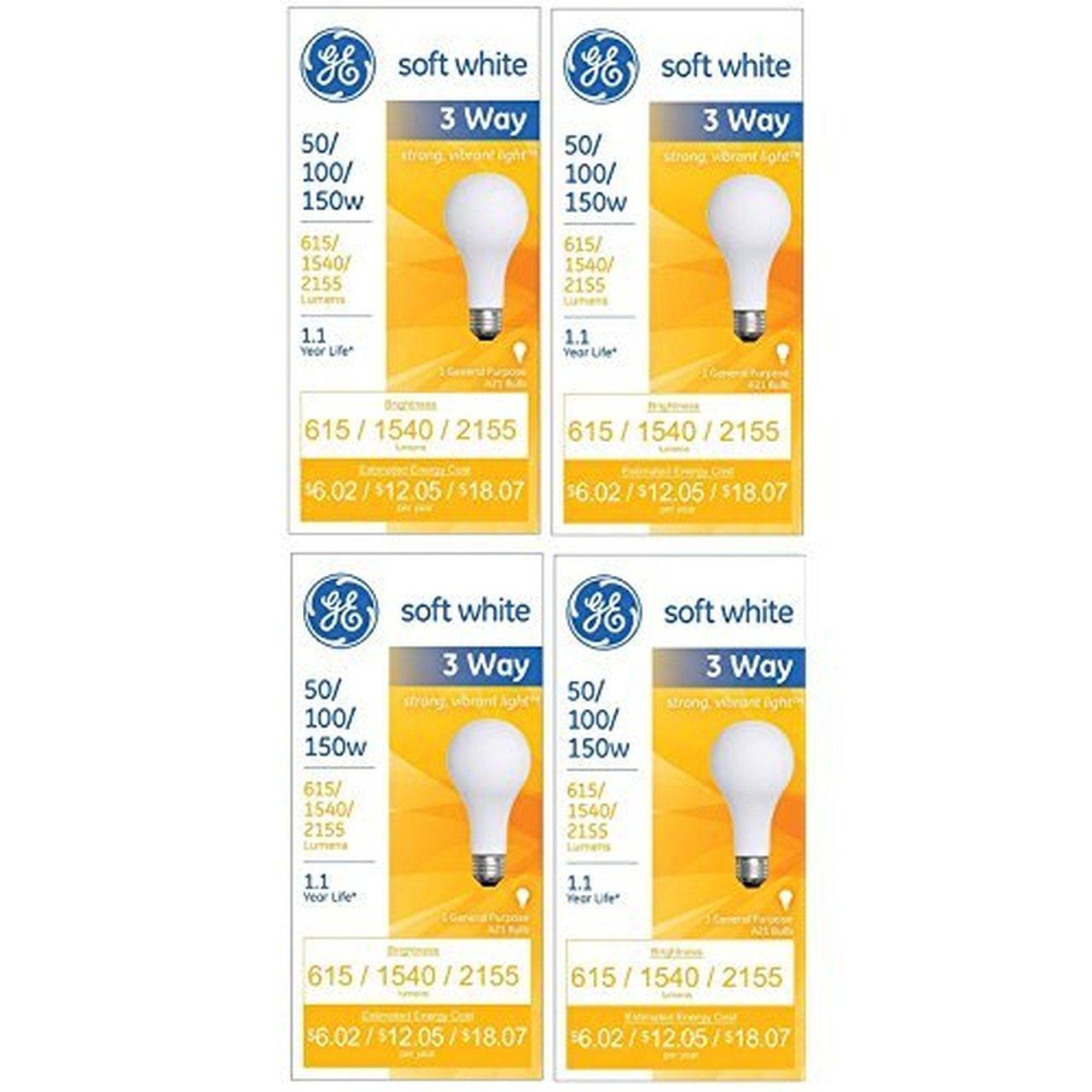 GE 97494 Lighting 50/100/150-Watt, 3-Way Light Bulb, Soft White, 4-Pack H&PC-71059