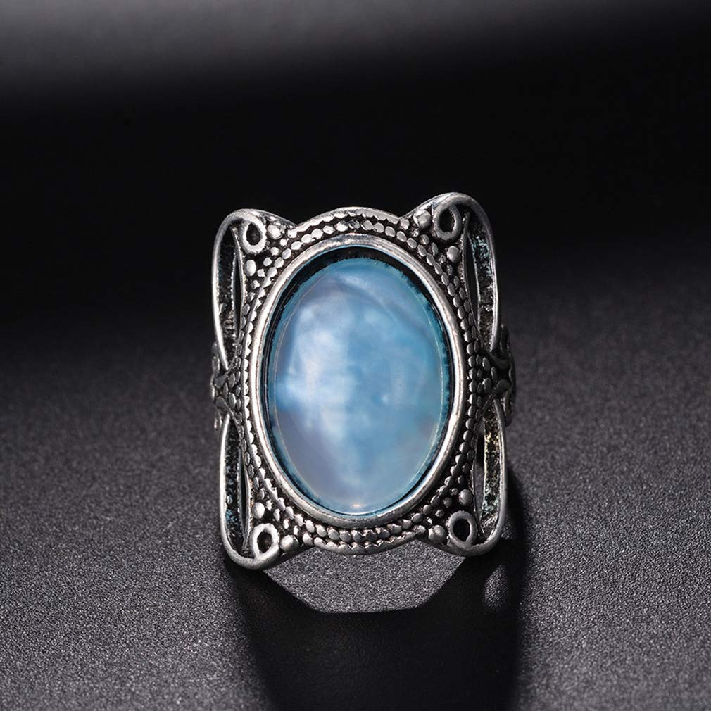 GloryMM Simulated Opal Gemstone Band Ring Exquisite Antique Hollow Engraving Finger Ring Mood Ring,#8