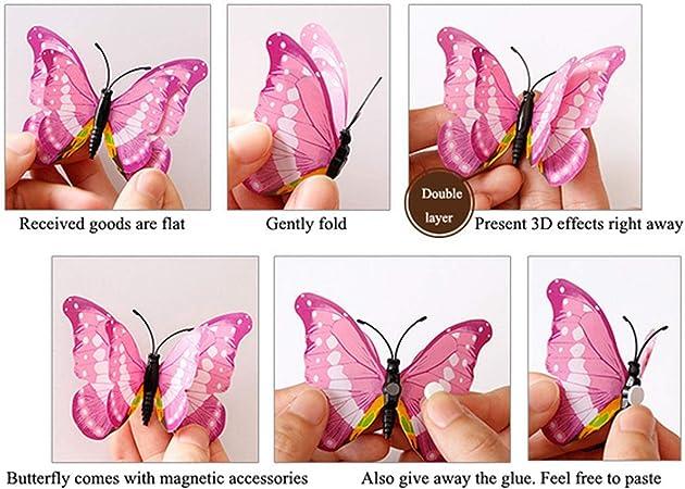 decoraciones ViViKaya Mariposas Decorativas 3D blanco 24 piezas de calcoman/ías de pared con forma de mariposa decoraci/ón de arte DIY