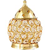 Brass & Gifts Akhand Diya Decorative Brass Oval Shaped Crystal Oil Lamp Tea Light Holder Lantern, 4.5-inch(Gold and White)