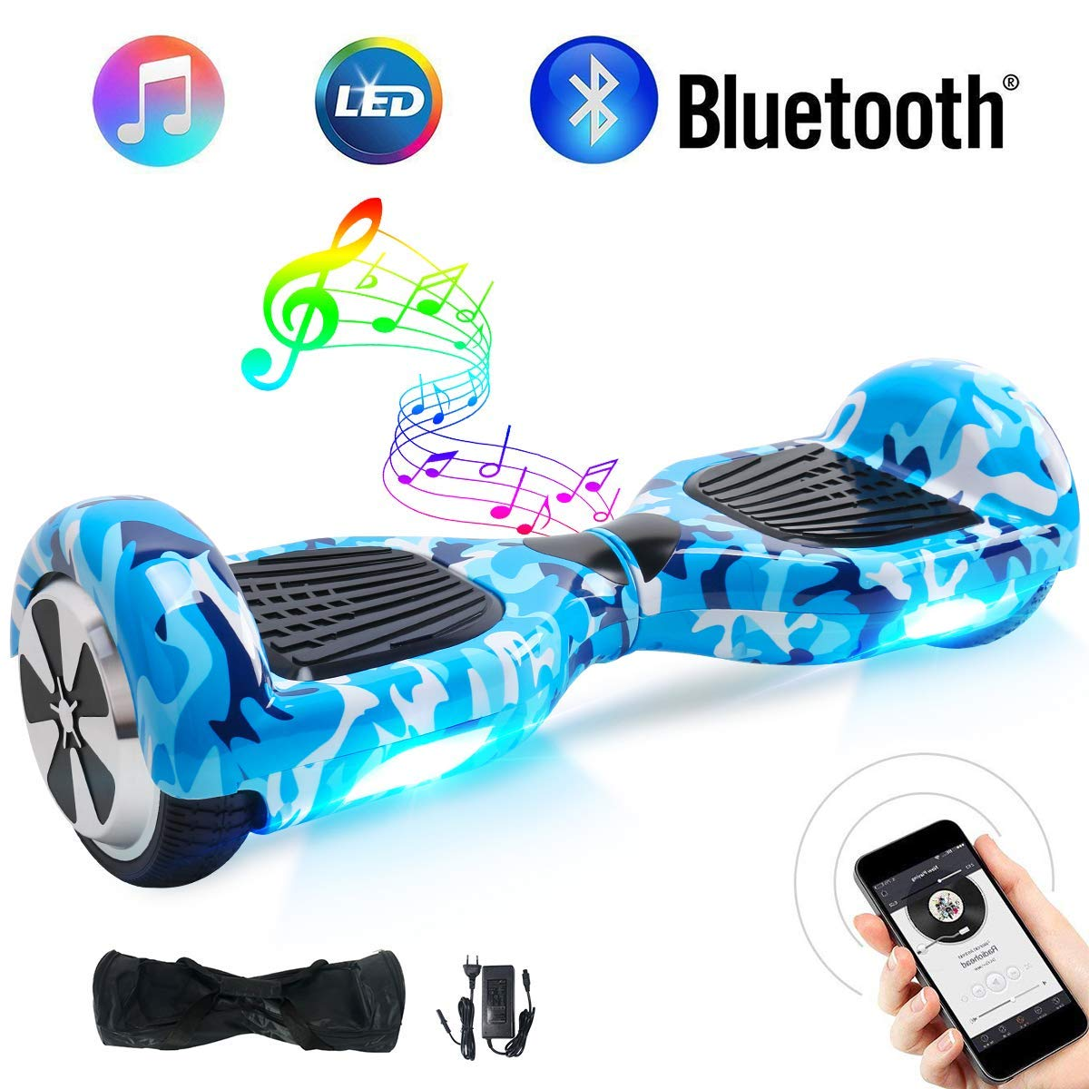 Windgoo Hoverboard Bluetooth 6,5 Pouces Gyropode Hoverboard Enfant, Hover Board Auto-Equilibrage Skateboard 700W Moteurs, Luces LED Auto Balance ...