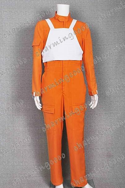White Flak Vest Star Wars Costume X-Wing Rebel Fighter Pilot Orange Jumpsuit