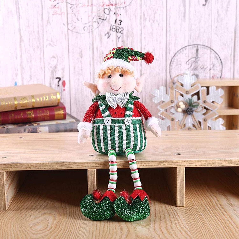 Z-KOKO Stuffed Toys Adorable Elf Plush Christmas Long Leg Sitting Boy Elf Holiday Plush Characters