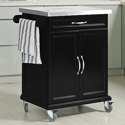Haotian FKW13 SCH, Wood Kitchen Cabinet, Kitchen Storage Trolley Cart With  Stainless Steel
