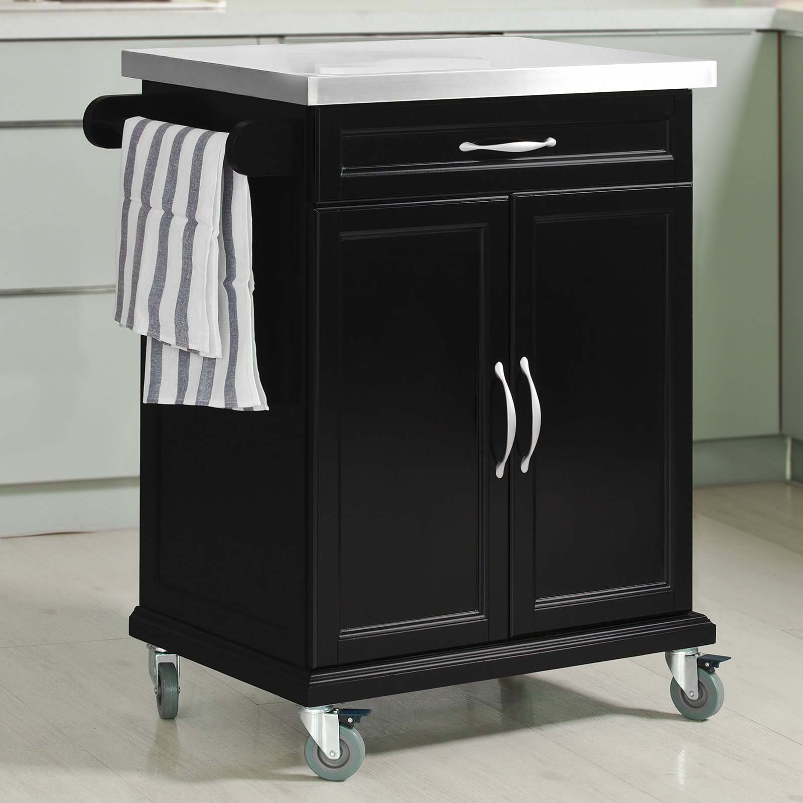 Haotian FKW13-SCH, Wood Kitchen Cabinet, Kitchen Storage Trolley Cart with Stainless Steel Surface and Lockable Wheels, Black