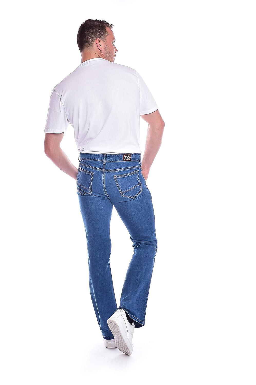 Run /& Fly Mens 60s 70s Vintage Blue Stonewash Stretch Denim Slim Bootcut Jeans