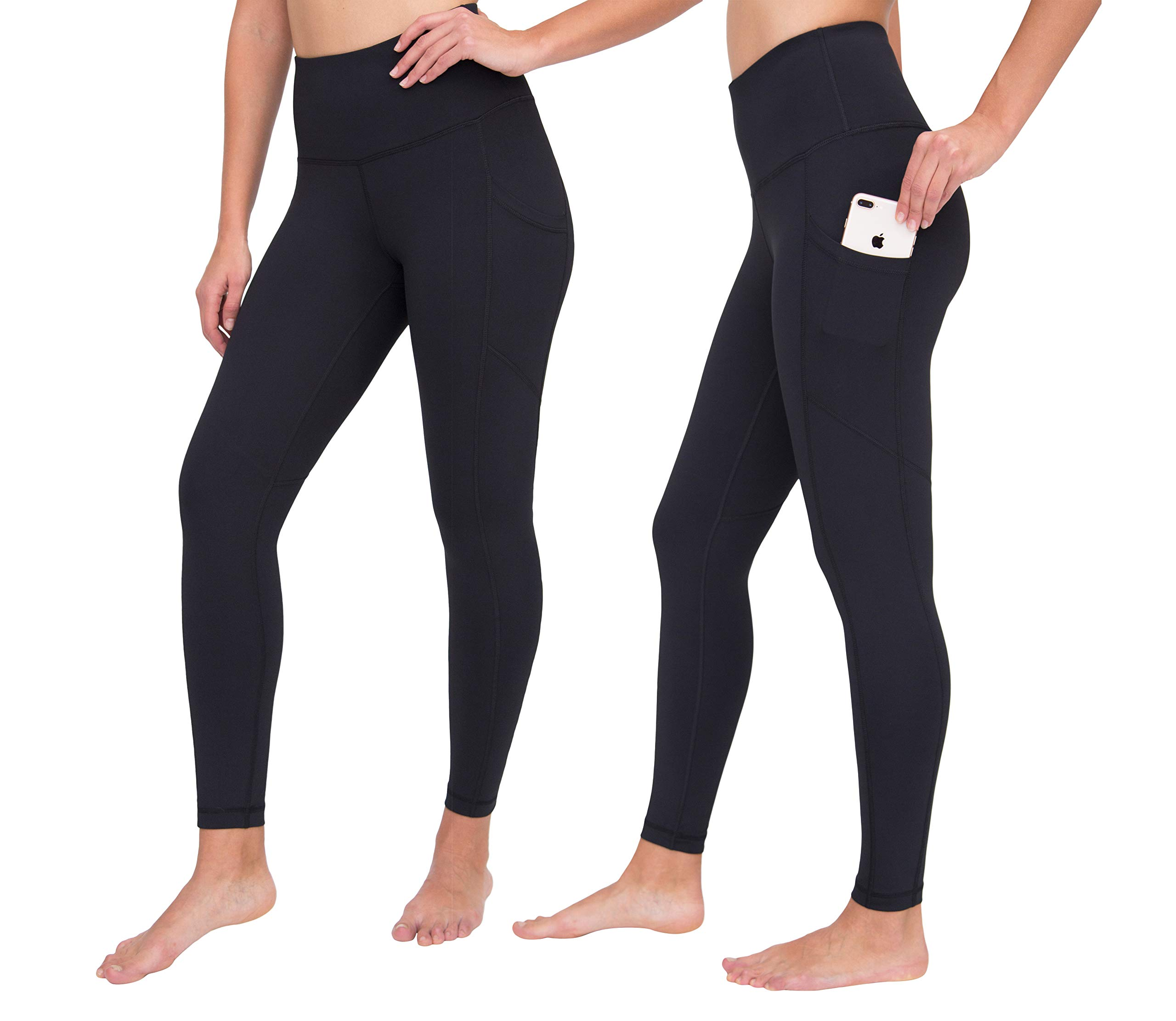 90 Degree By Reflex High Waist Interlink Yoga Pants - Black Ankle Length 2 Pack - XS