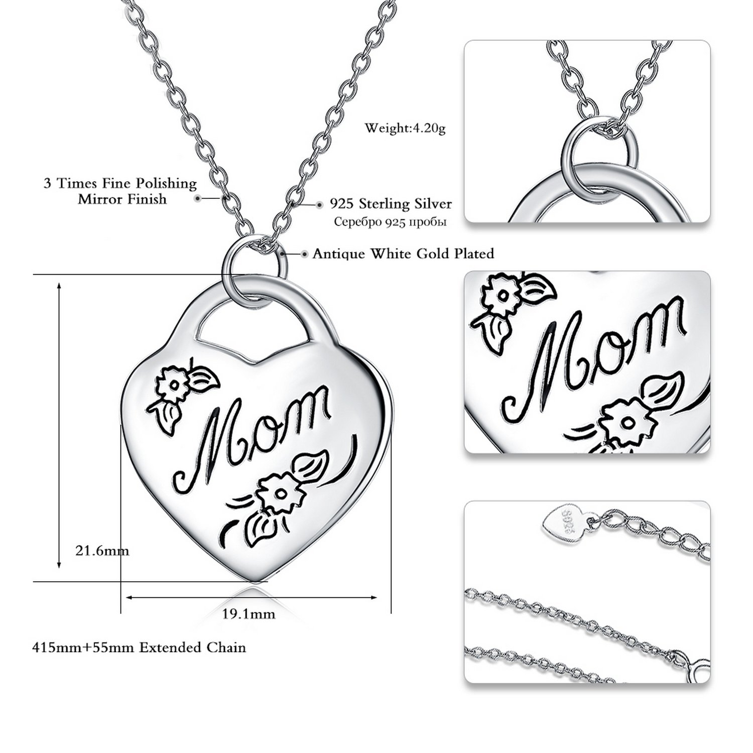 CS-DB Jewelry Silver Initial Letter Mom Chain Charm Pendants Necklaces