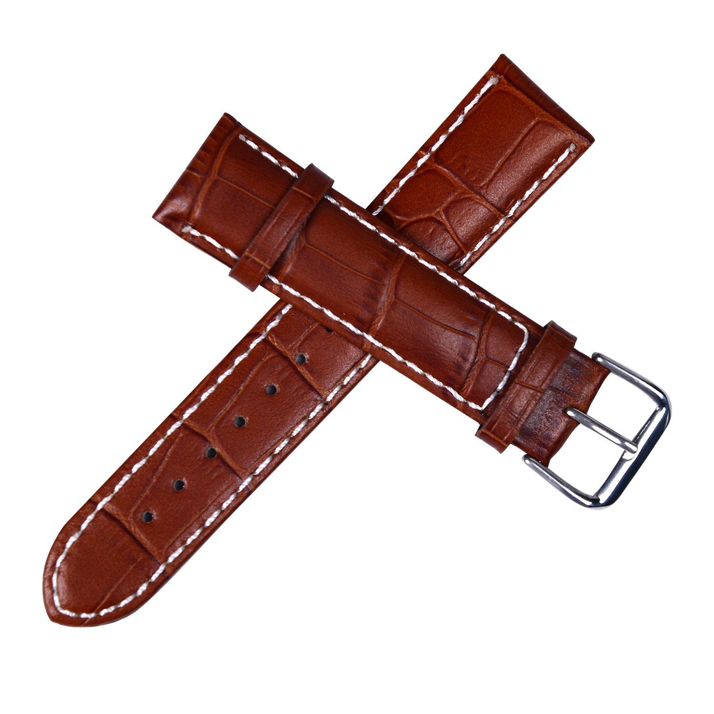 レザー腕時計バンドストラップ20 mm牛革ワニパターンの男性のツールと梱包ボックス  ブラウン B075SW64FP