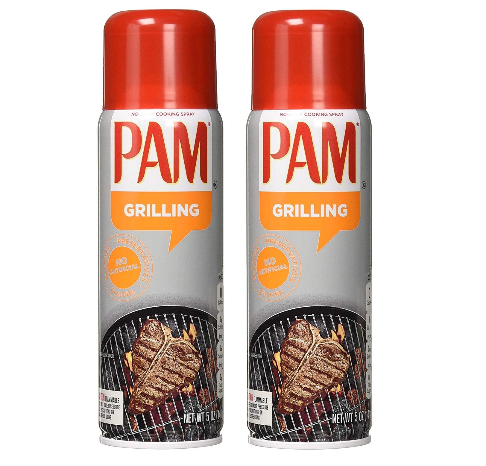 Pam No-Stick Cooking Spray - Grill - For High Temperature - Net Wt. 5 OZ (141 g) Each - Pack of 2 by Pam
