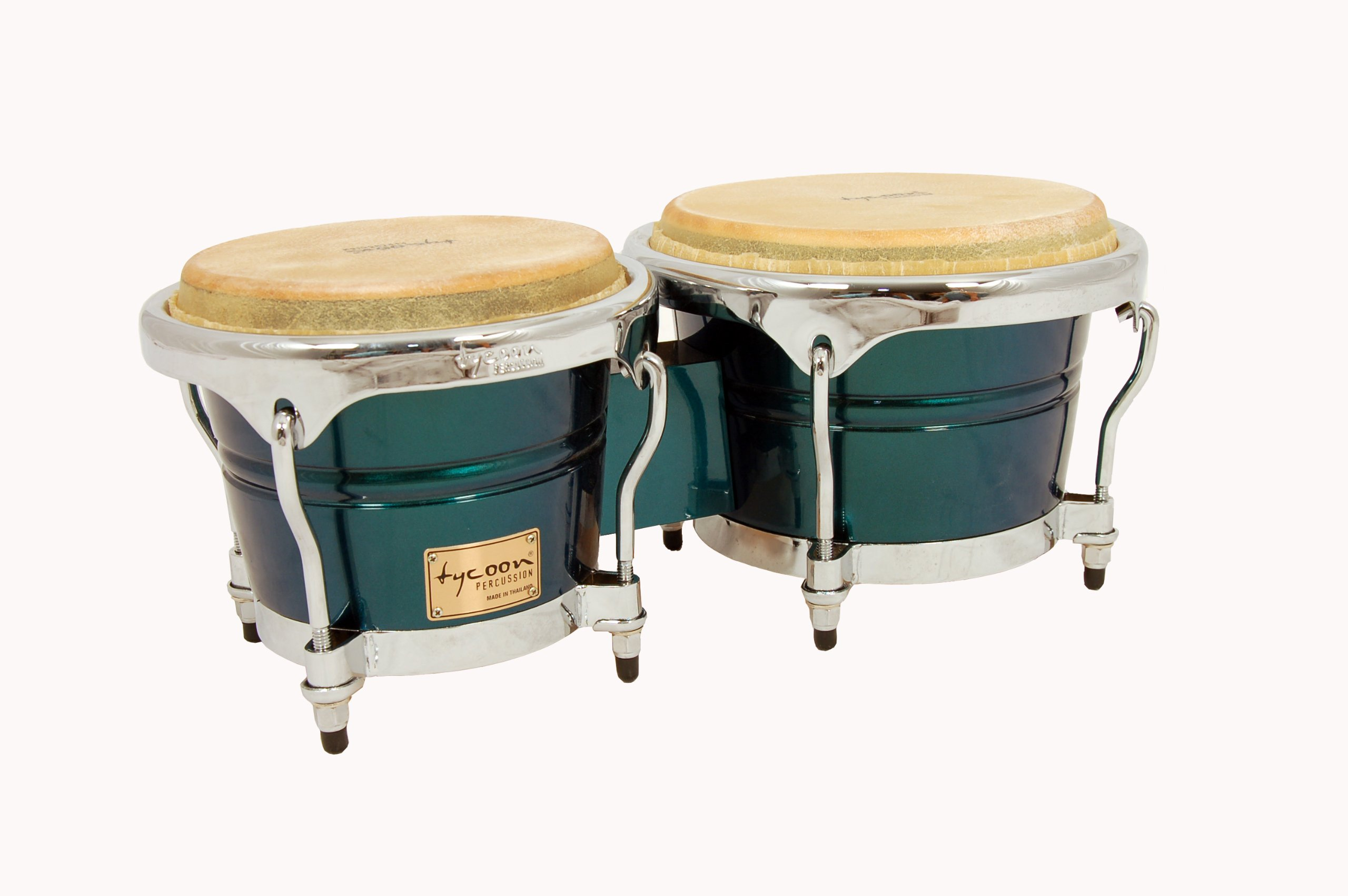 Tycoon Percussion 7 Inch & 8 1/2 Inch Concerto Series Bongos, Green Spectrum Finish