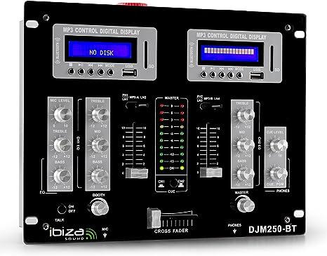 Ibiza DJM250BT Mesa de mezclas DJ 2 canales Bluetooth USB SD AUX ...