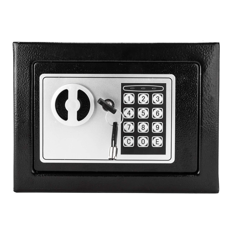 Tenozek 17E Home Use Electronic Password Steel Plate Safe Box Black Digital Safe-Electronic Steel Safe with Keypad