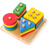 Boxiki kids Wooden Stacking Toys & Shape Sorting Board | Geometric Shape Stacker | Eco-Friendly & Non-Toxic Wooden Toy…