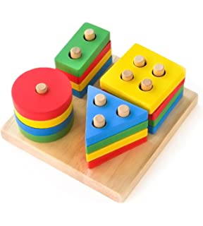 d83337e8b53c6 ... Recognition Toy. Birthday. Boxiki Kids Wooden Educational Geometric  Stack and Sort Board Shape and Color…
