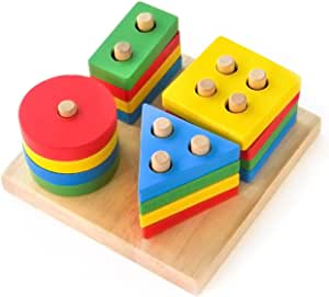 Boxiki kids Wooden Stacking Toys & Shape Sorting Board | Geometric Shape Stacker | Eco-Friendly & Non-Toxic Wooden Toy | Early Childhood Development Toys for Fine Motor Skills
