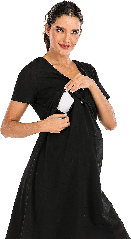 Nuisette Grossesse Femme Robe dallaitement de Maternit/é de Coton Hopeton Chemise de Nuit Allaitement 3 en 1 Chemise de Nuit Maternit/é et Chemise de Nuit Accouchement