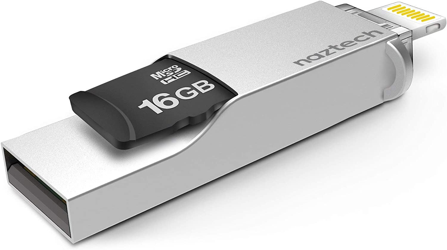 Naztech Xtra Mini USB Flash Drive Lightning Memory Stick with Hi-Speed Memory Expansion for Apple IOS, Micro SD card up to 16GB to 256GB Including iPhone, Mac, PC, iPad, iPod and More