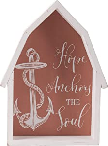 "Farmhouse Wall Art Room Decor - Rustic Decorative Sign (10"" High, Hope Anchors the Soul, Beach)"
