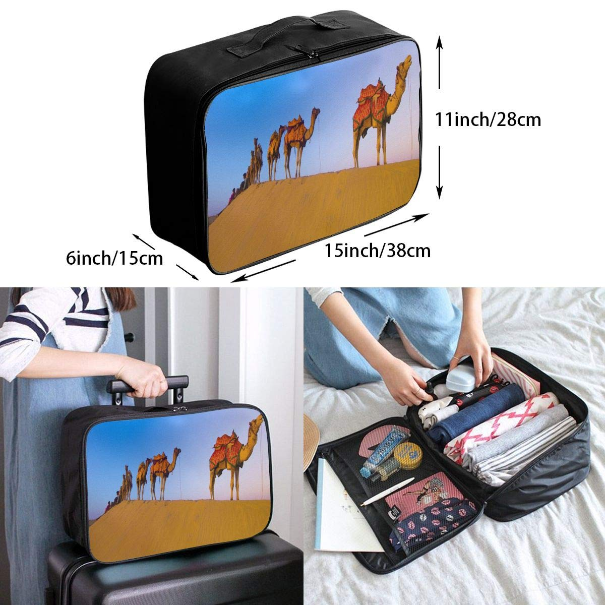 Lightweight Large Capacity Portable Luggage Bag Desert Camel Team Travel Waterproof Foldable Storage Carry Tote Bag