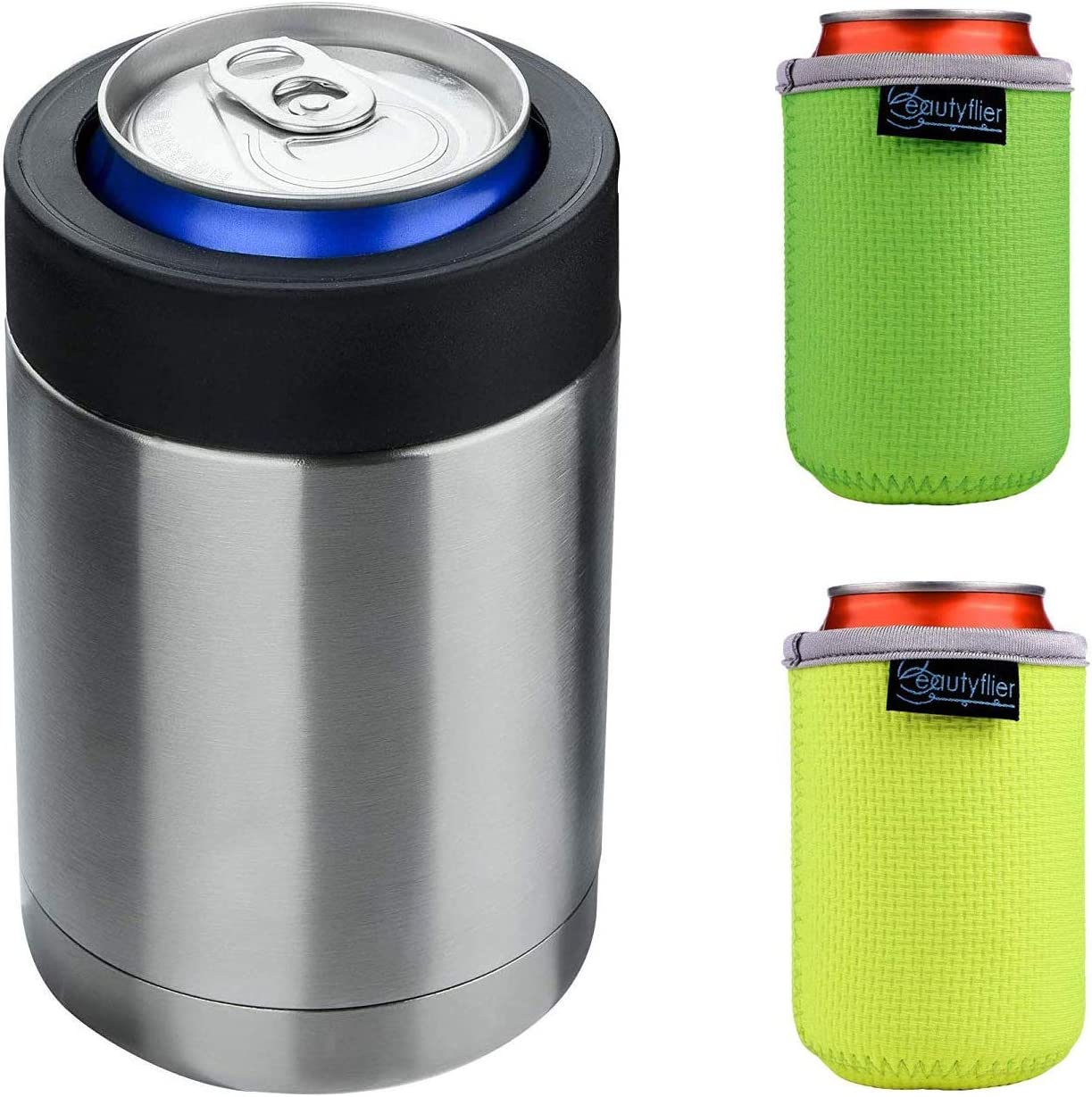 Beautyflier 12 oz Stainless Steel Vacuum Insulated Can Cooler Beer Holder + 2 Pieces Neoprene Can Sleeve Fits Standard 12oz Beverage Can &Beer Bottles