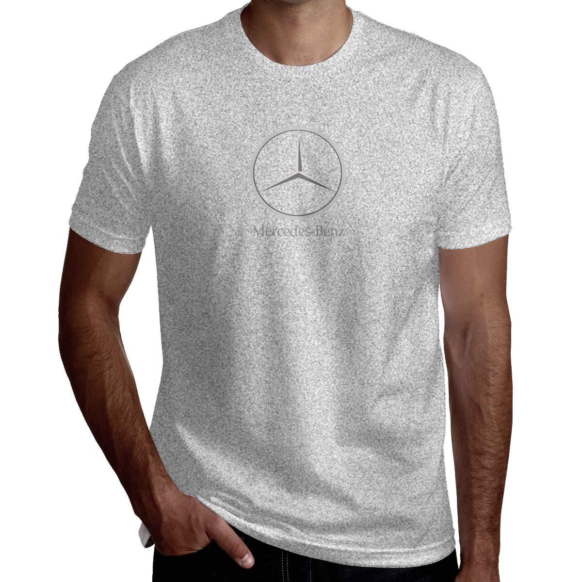LucyEve Designed T Shirt Mercedes Benz Logo Tshirts Short Sleeve for Man Gray XL
