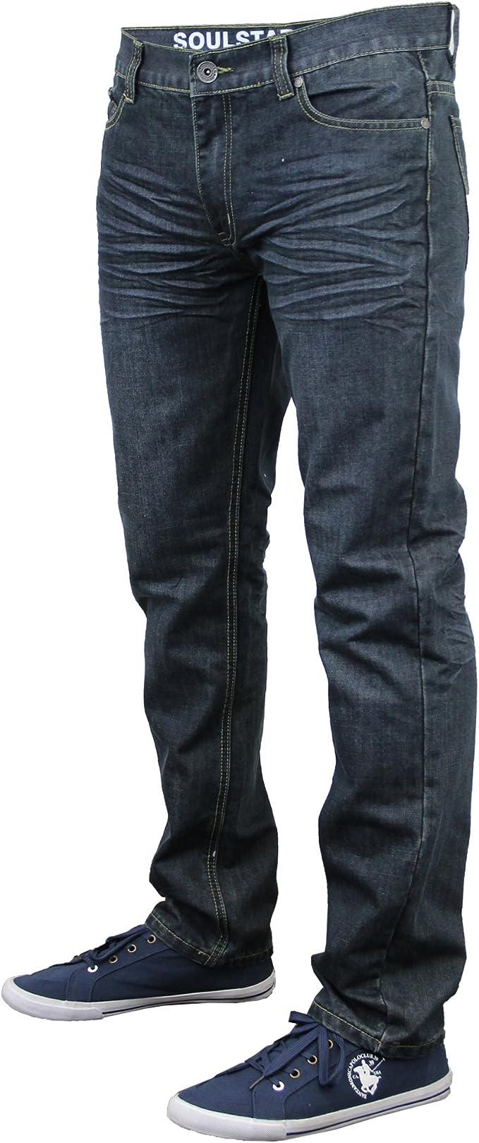 Brave Soul Men/'s Skinny Jeans Stretch Distressed Black Wash Denim Pants Size 34