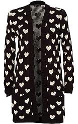 RM Fashions Womens Long Sleeve Chunky Knitted Heart Print Cardigan Sweater (S-3X)