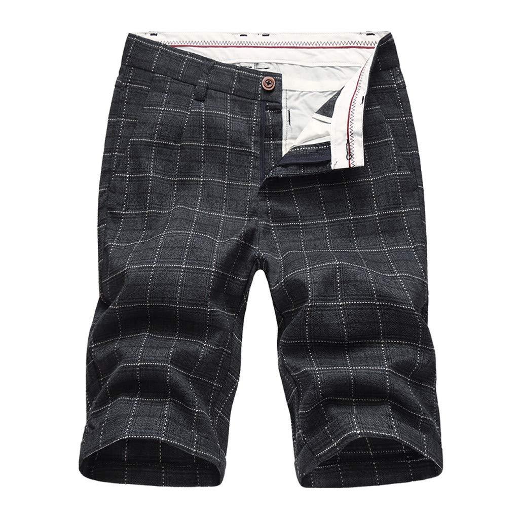 Men's Summer Shorts,Summer Outdoor Lightweight Hiking Shorts Sports Straight Pants Boxer Lattice Zipper Cargo Short Gray